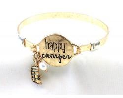 Gold Happy Camper Wire Wrap Bracelet