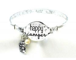 Silver Happy Camper Wire Wrap Bracelet