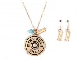 Gold Bullet Back Pendant Necklace Set