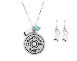 Silver Bullet Back Pendant Necklace Set