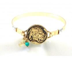 Gold Buffalo Nickel Wire Wrap Bracelet