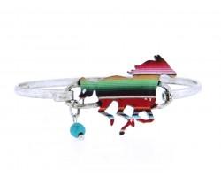 Multi Mustang Serape Print Silver Hook Bracelet