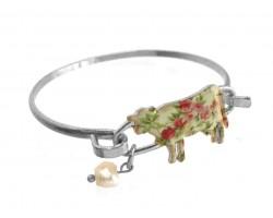 Multi Cow Floral Print Silver Hook Bracelet