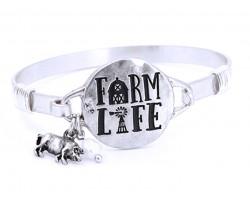 Silver Farm Life Wire Wrap Bracelet