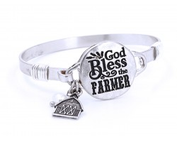 Silver God Bless The Farmer Wire Wrap Bracelet