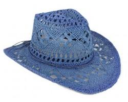 Blue Cowboy Western Hat Burnt Open Cut