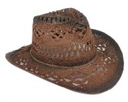 Dark Brown Cowboy Western Hat Burnt Open Cut