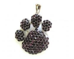 Amethyst Crystal Paw Print Magnetic Pendant