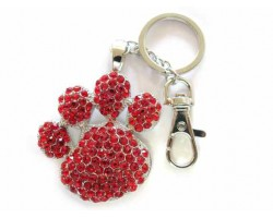 Paw Print With Light Siam Crystals Key Chain