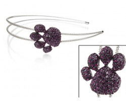 Purple Crystal Paw Print Silver Coil Wire Headband