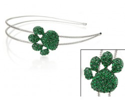 Green Crystal Paw Print Silver Coil Wire Headband