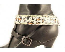 Leopard Leather Crystal Beaded Shoe Boot Jewelry