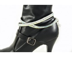 Clear AB Crystals Flat Wrap Shoe Boot Jewelry