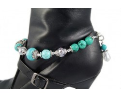 Turquoise Crystal Rondelle Bow Filigree Barrel Shoe Boot Jewelry