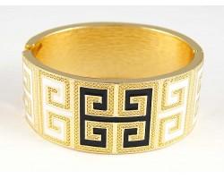 Black & White Enamel Greek Key Gold Cuff Bracelet