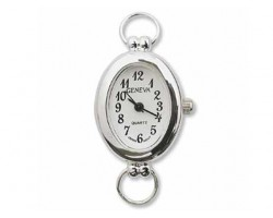 Silver Plate Smooth Oval Black Numbers Watch Face