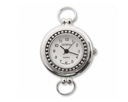 Silver Plate Beaded Watch Face With Loop