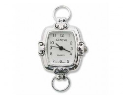 Silver Round Rectangle Scroll Watch Face Loop