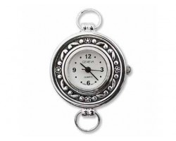 Round Silver Daisy Floral Rim Watch Face Loop