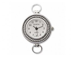 Silver Round Flat Rope Watch Face Loop