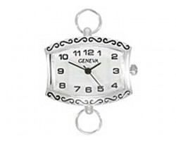 Silver Plate Sideways Rectangle With S Design Lg Watch Face
