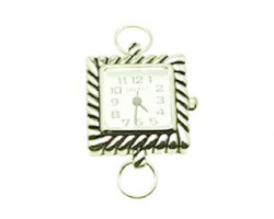 Silver Plate Thick Rope Design Square White Watch Face Loop
