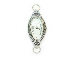 Silver Plate Rope Design Long Oval Watch Face Loop