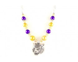 LSU Purple and Gold Large Tiger Beaded Necklace Set