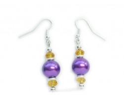 Purple Gold Pearl And Crystal Hook Earrings