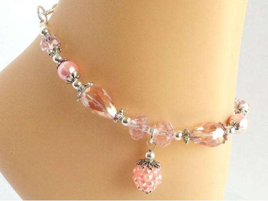 Small Sweet Pink AB Inset Stones Crystal Pearl Anklet Bracelet
