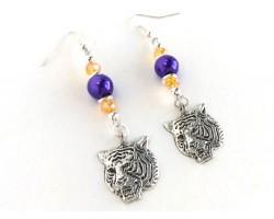 Tiger Head Purple Gold Crystal Hook Earrings