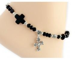 Jet Crystal Antique Silver Cross and Rose Anklet Bracelet