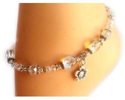 Antique Silver Rose Charm CAB Crystals Anklet Bracelet