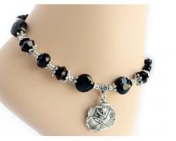 Antique Silver Rose Charm Jet Crystal Anklet Bracelet