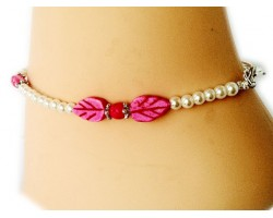White Pearl Hot Pink Leaves and Cross Anklet
