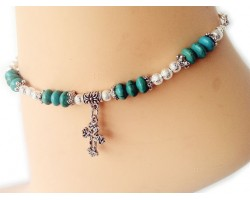Turquoise Stone Silver Stardust Cross Anklet