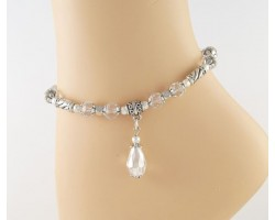Clear Crystal Silver Beads Anklet