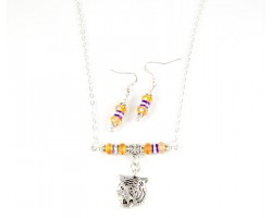LSU Tiger Charm Rolo Chain Necklace Set