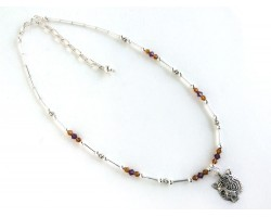 Purple Gold Crystal Tiger Charm Necklace