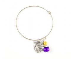 LSU Tiger Gold and Purple Crystal and Pearl Charm Wire Bangle