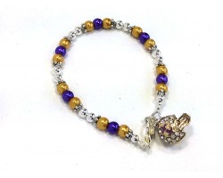 Purple Gold Pearl Football Helmet Bracelet