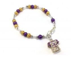 Purple Gold Pearl Football Jersey Bracelet