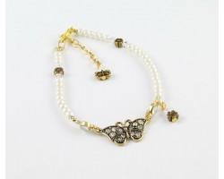 Pearl & AB Crystal Gold Plate Butterfly Flower Anklet Bracelet