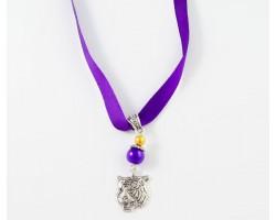 "16"" LSU Purple Gold Satin Necklace Tiger Head Charm"
