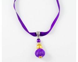 "16"" LSU Purple Gold Mesh Bead on Satin Ribbon Necklace"