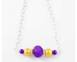LSU Purple Mesh Bead Gold Purple Chain Necklace