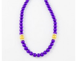 """18"""" LSU Purple & Gold Pearl 10mm Bead Necklace"""