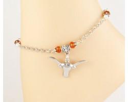 Texas Longhorn Orange Crystal Chain Anklet