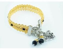 Gold Brocade Cord Jet Crystal Toggle Charm Bracelet