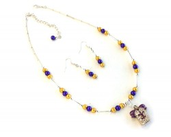 Purple Gold Pearl Football Jersey Necklace Set
